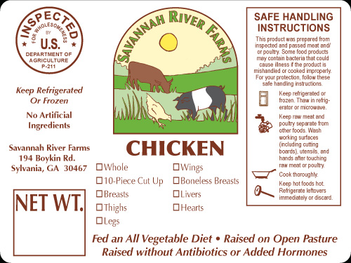 Savannah River Chicken Label