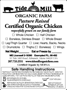 TIDE MILL ORGANIC POULTRY LABEL