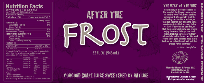 After the Frost Grape Juice Label