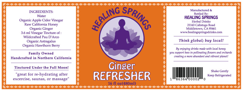 Healing Springs Ginger Refresher Label - Beverage Label