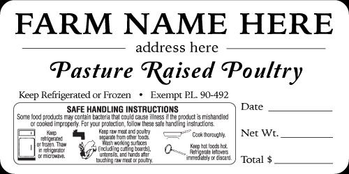 Budget Poultry Label - Pasture Raised Poultry