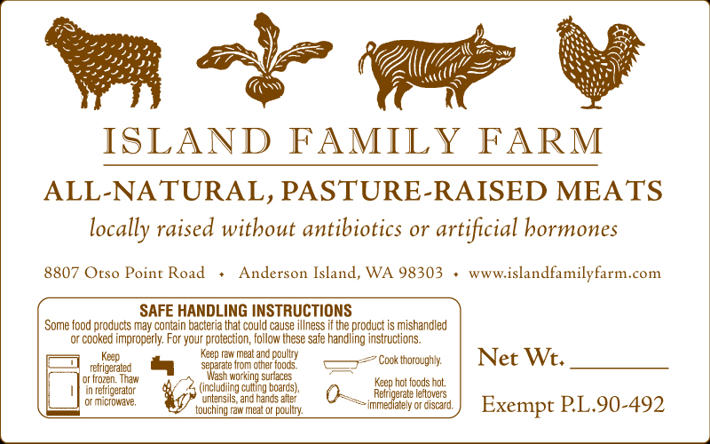 Island Family Farm Pasture Raised Meat Label
