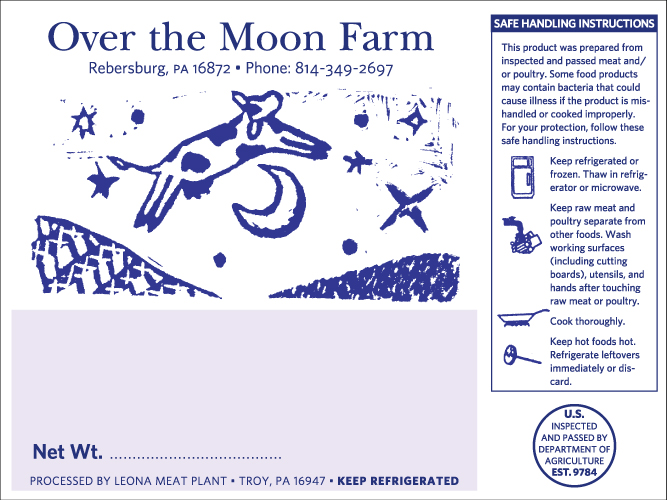 Over the Moon Farm Meat Label