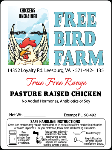 Free Bird Farm Pasture Raised Chicken Label