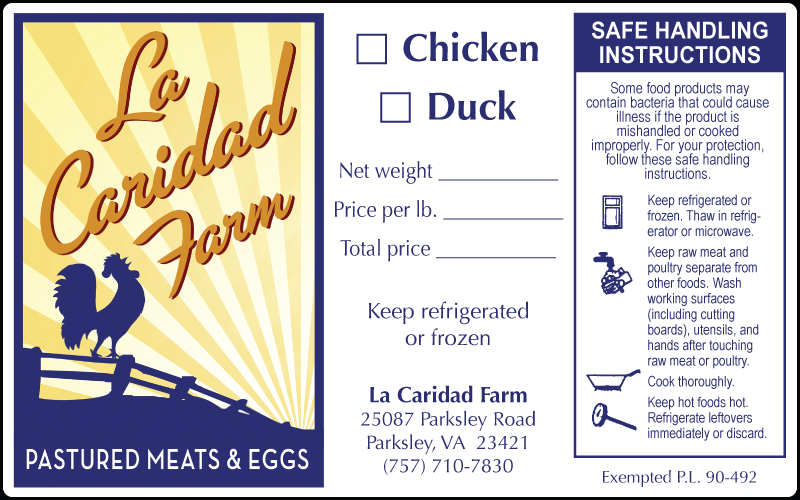 La Caridad Farm Chicken and Duck Label