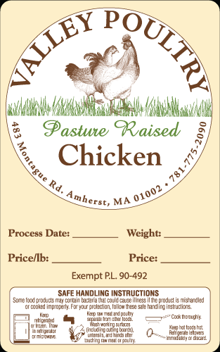 Valley Poultry Pasture Raised Chicken Label